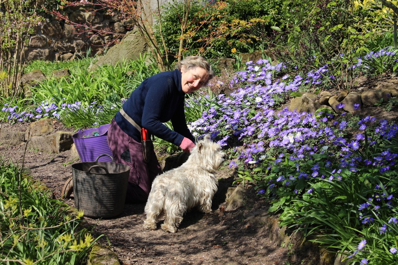 Griselda Kerr with Hebe in the garden at The Dower House