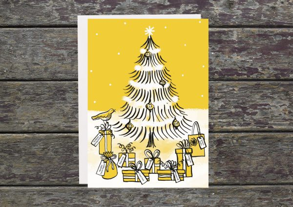 Christmas tree on christmas card